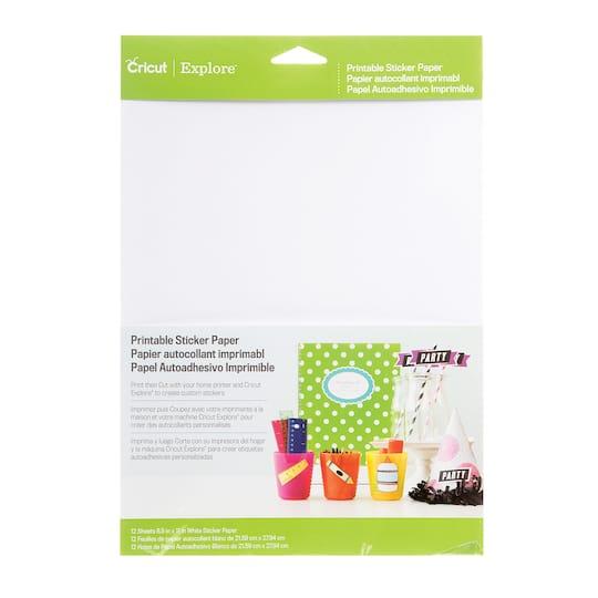 "buy the cricut® printable sticker paper: white, 8.5"""" x 11"""", 12"