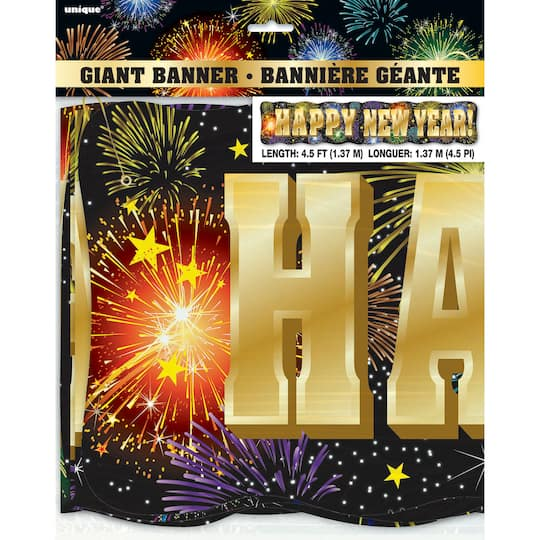 giant fireworks new years eve letter banner