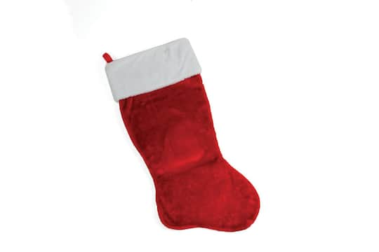 35 traditional red with white cuff plush christmas stocking
