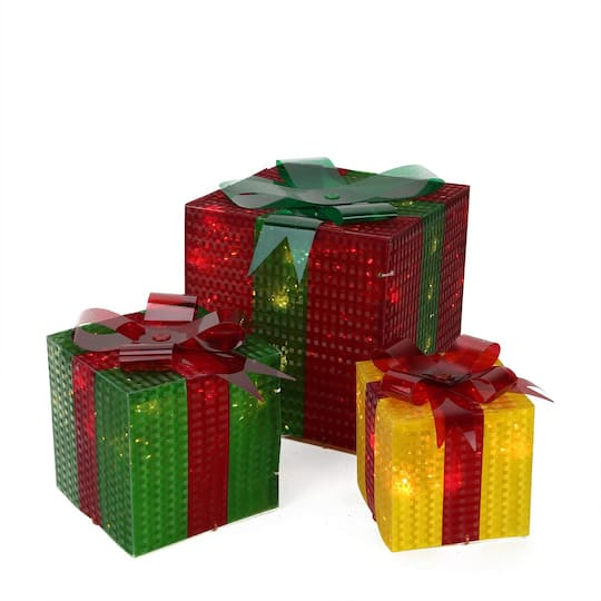 3 piece glistening prismatic gift box lighted christmas yard art decoration set