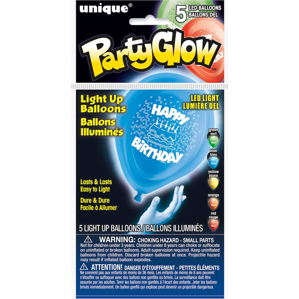 10 Happy Birthday LED Light Up Balloons Assorted 5ct Img