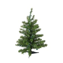 3 Ft Pre Lit Natural Two Tone Pine Artificial Christmas Tree Multicolor Lights