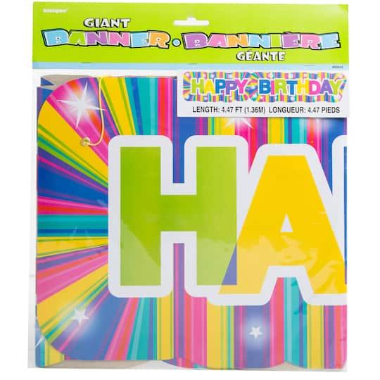 Paper Neon Starburst Birthday Banner, 4.5 Ft