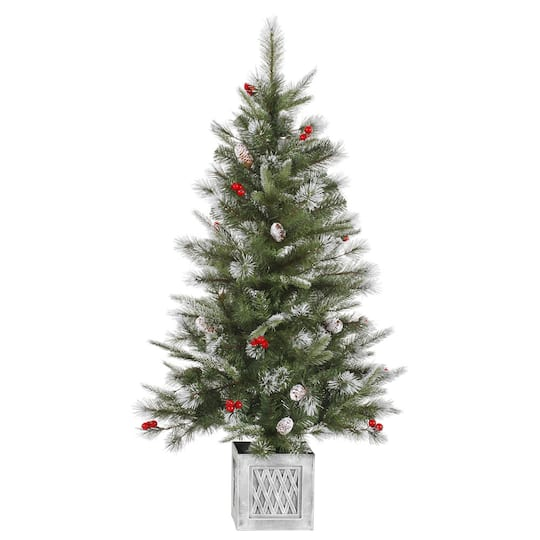 4 foot artificial christmas tree 6 foot ft frosted pine cone berry potted artificial christmas tree unlit
