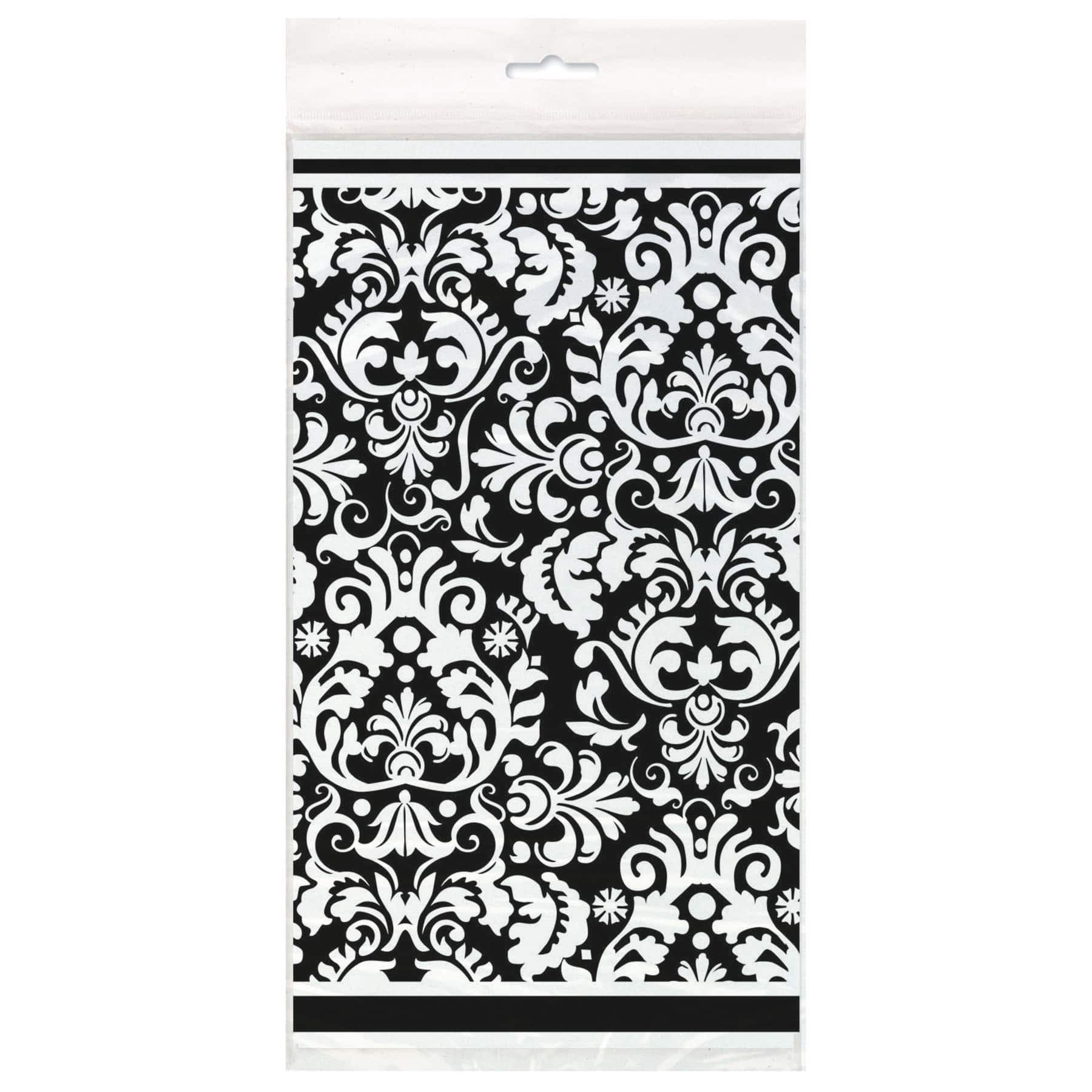 Plastic Black Damask Table Cover 84\  x 54\ . img  sc 1 st  Michaels Stores & Black Damask Plastic Table Cover 84\