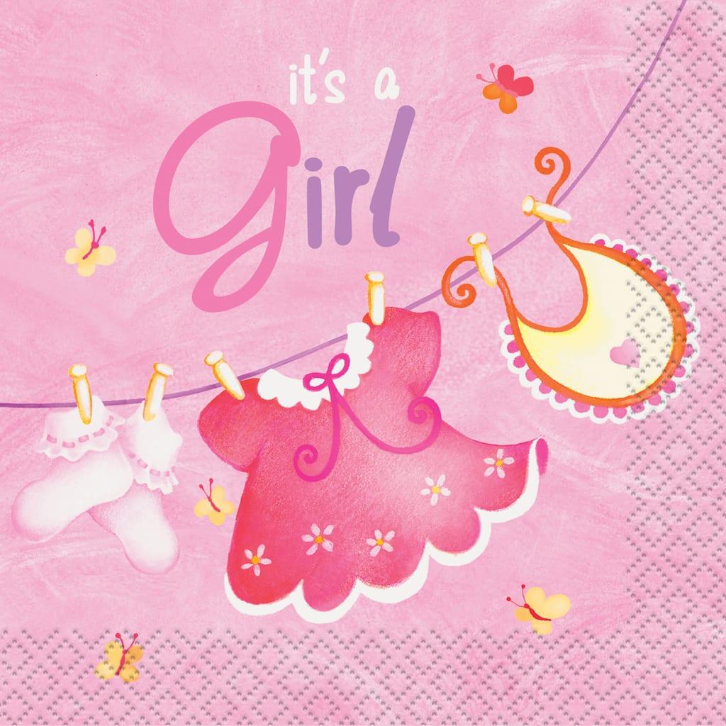 Pink Clothesline Baby Shower Beverage Napkins Girl Baby Shower