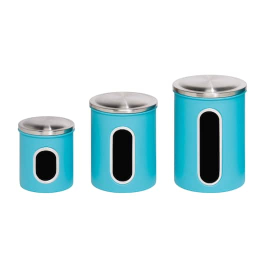 Honey Can Do Turquoise Kitchen Storage Canisters, 3 Pieces