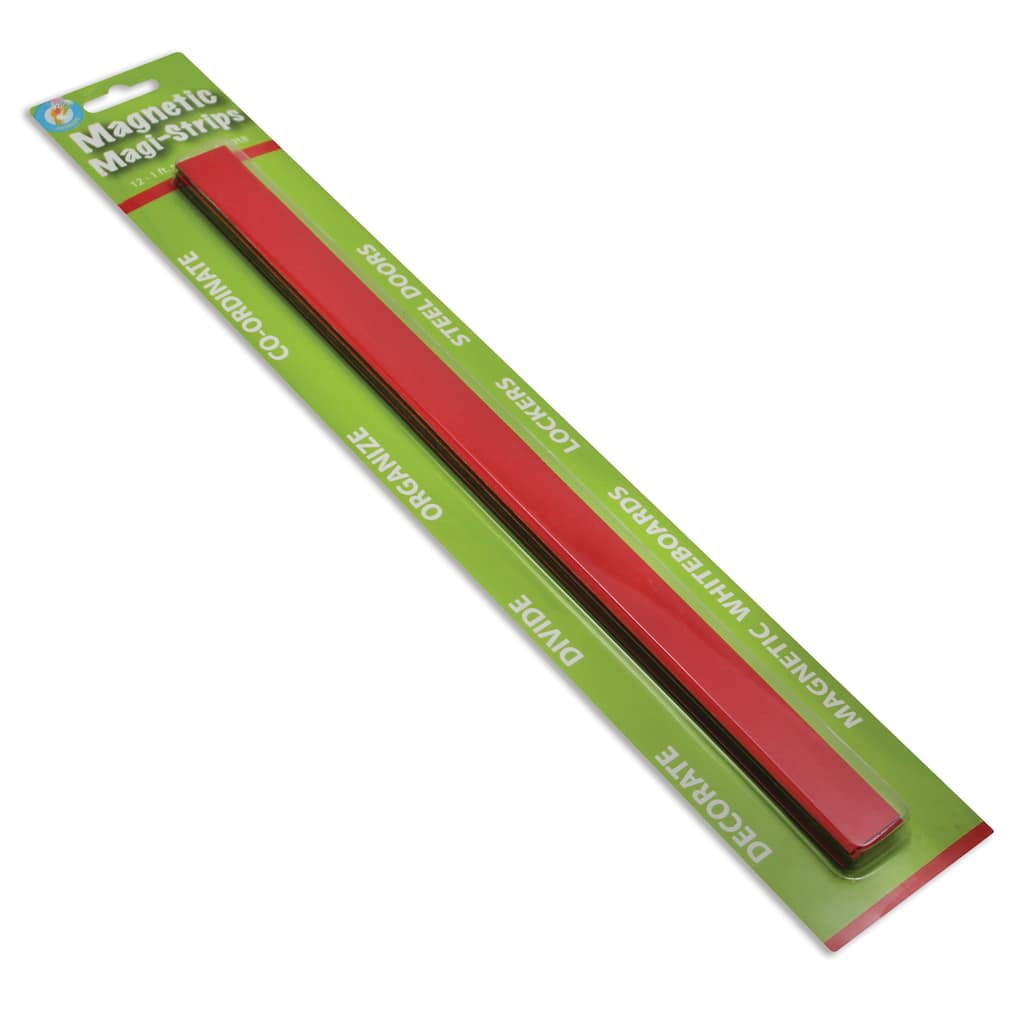 """Ashley Productions 75"""" x 12"""" Cherry Red Magnetic Magi-Strips, 5 Pack"""