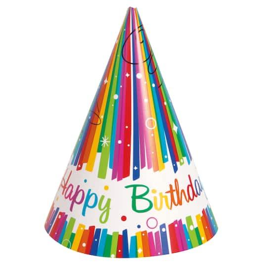 Rainbow Birthday Party Hats 8ct Img