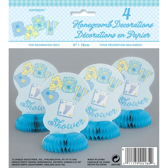 Mini 6 Honeycomb Blue Cute As A Button Baby Shower Decorations 4ct