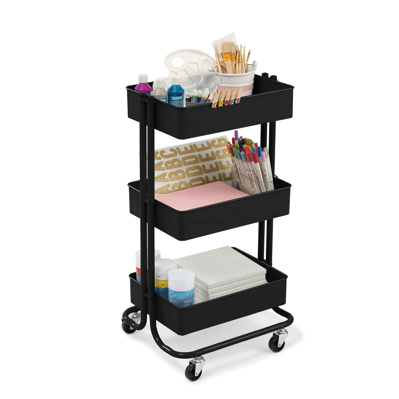 lexington matte black 3-tier rolling cart by recollections™ Storage Carts, Totes \u0026 Drawer Units | Michaels