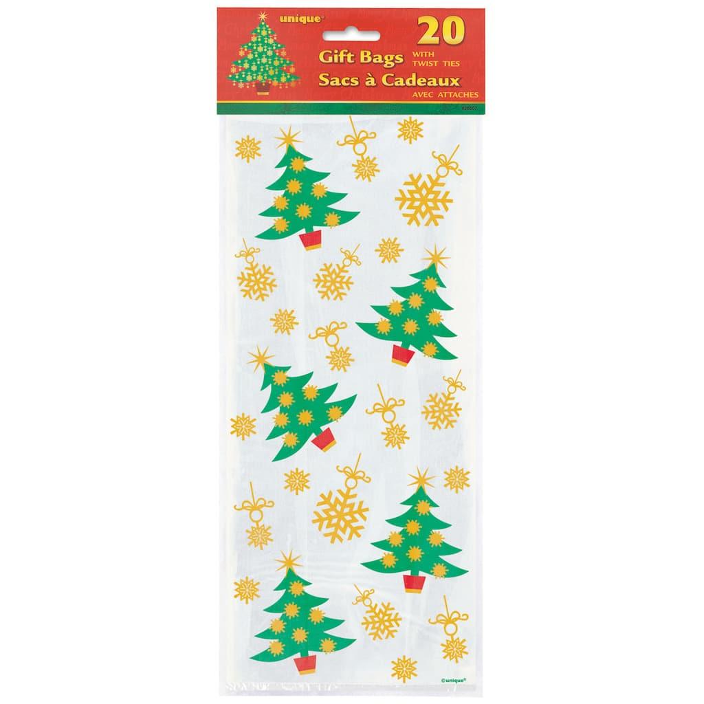 Christmas Cellophane Bags.Golden Christmas Tree Cellophane Bags 20ct