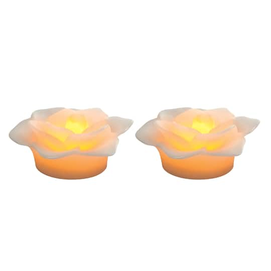 Shop For The White Wax Led Floating Flower Candles By