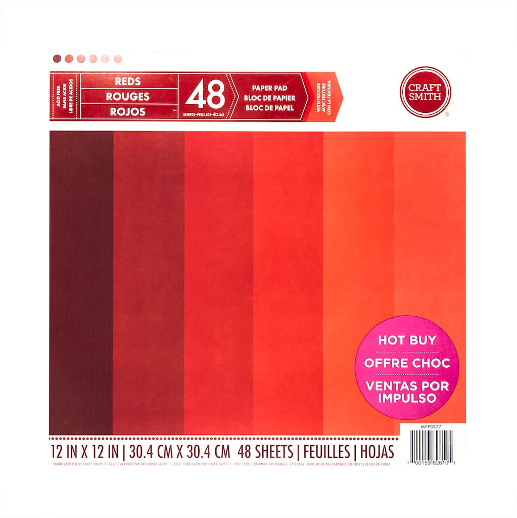 Shop for the Craft Smith® Paper Pad, Solid Reds at Michaels
