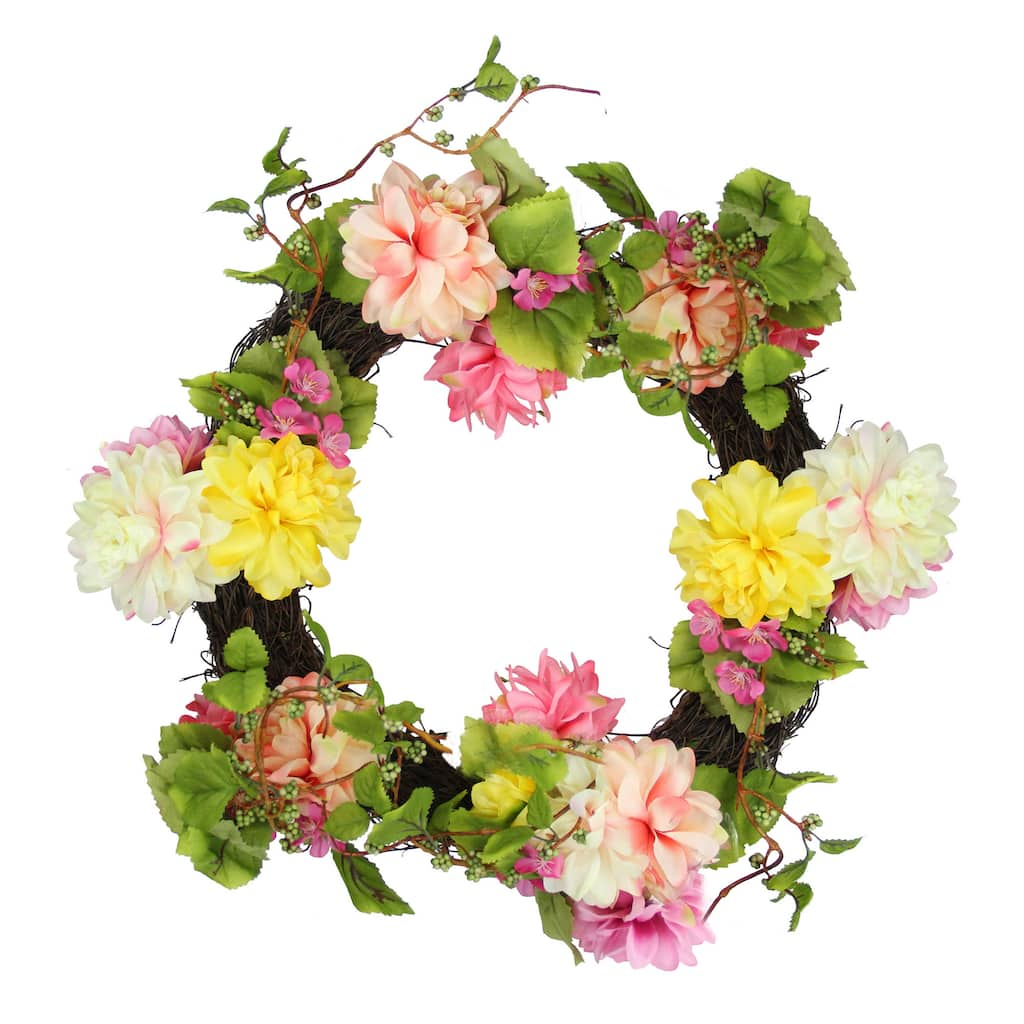 22 Pink Yellow Mum And Wild Blossom Floral Wreath