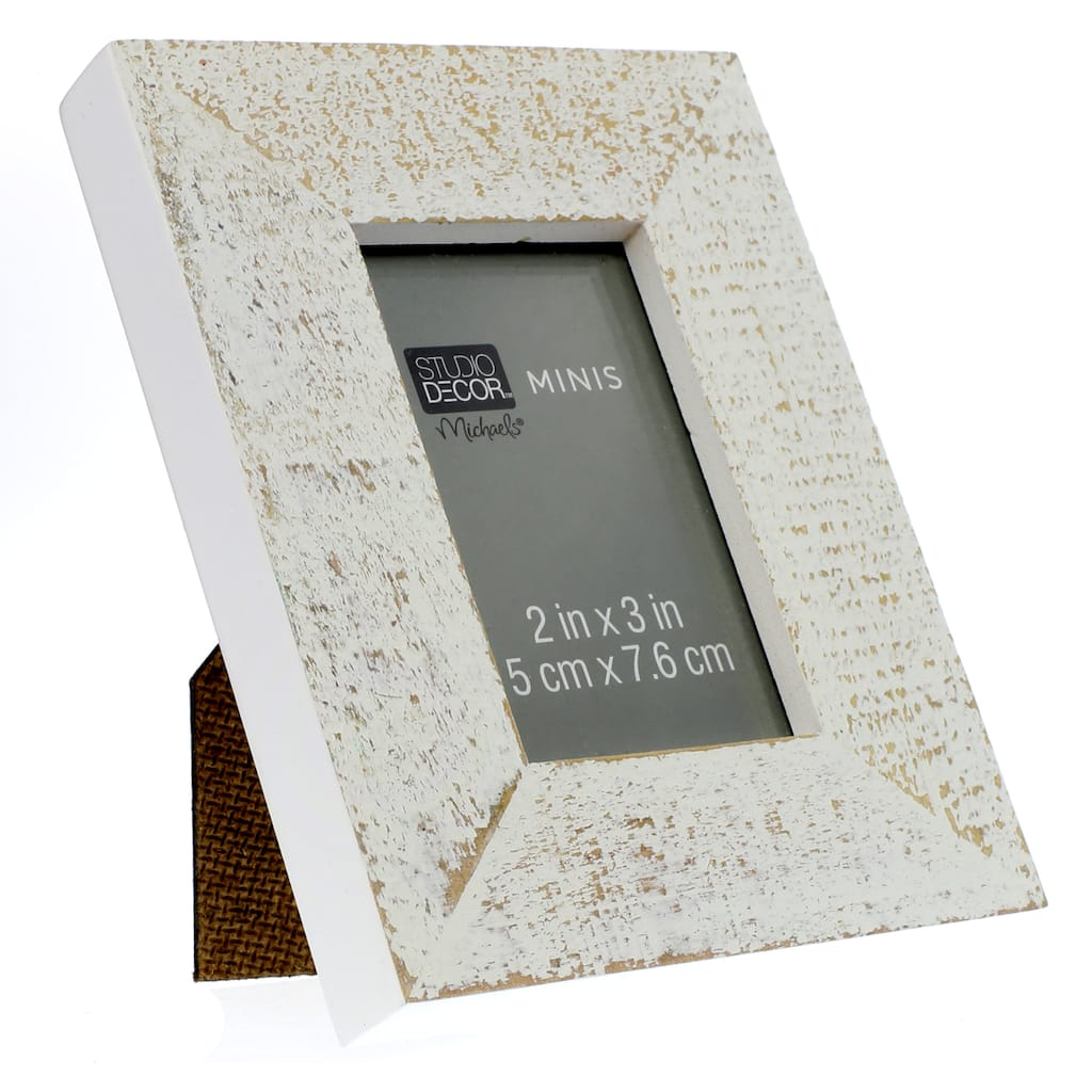 White Distressed Mini Frame by Studio Décor®