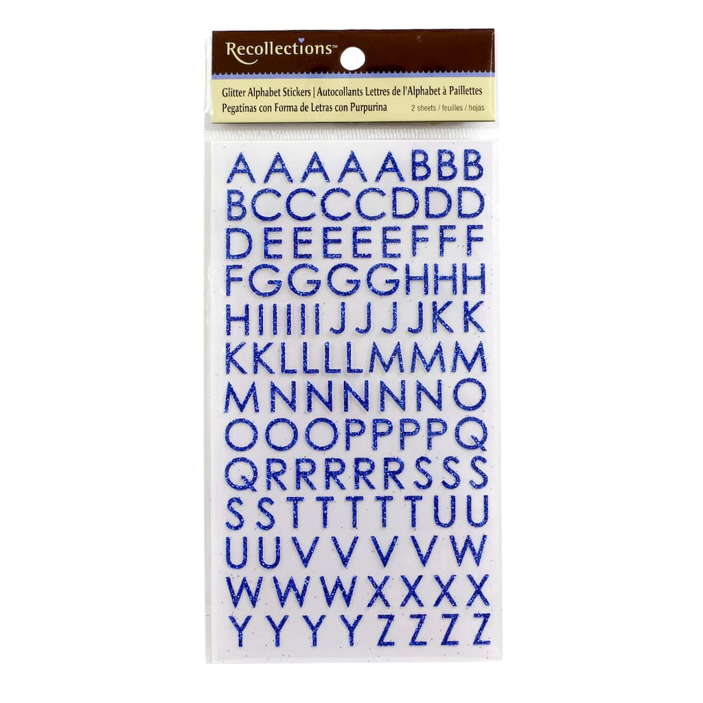 spectacular decorative labels.htm glitter block alphabet stickers by recollections     glitter block alphabet stickers by