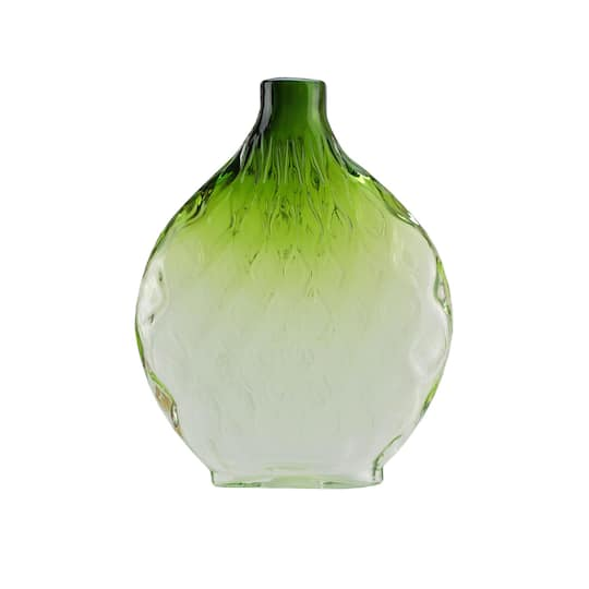 115 Disc Glass Vase Forest Green Ombre