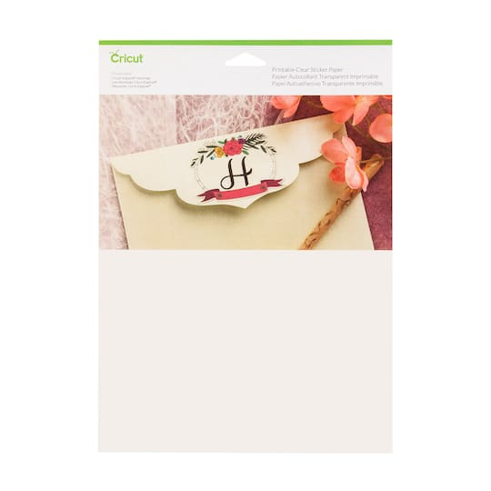 """buy the cricut® printable clear sticker paper. 8.5"""""""" x 11"""""""" at michaels"""