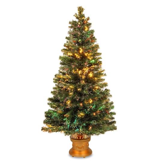 5 ft fiber optic evergreen artificial christmas tree gold base firework lighting