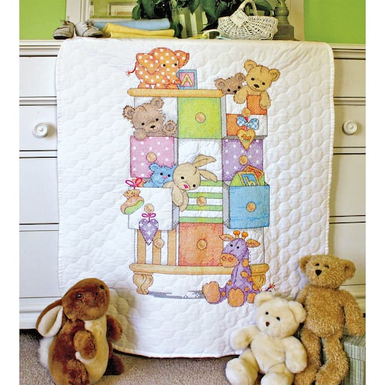 Dimensions Stamped Cross Stitch Kit Baby Drawers Quilt