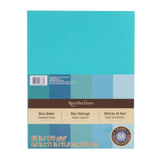 Blue Ombre 8 5 X 11 Cardstock Paper By Recollections 50 Sheets