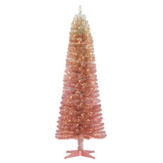 pre lit pink ombre alexa tinsel artificial christmas tree clear lights by ashland - Michaels Christmas Trees Pre Lit