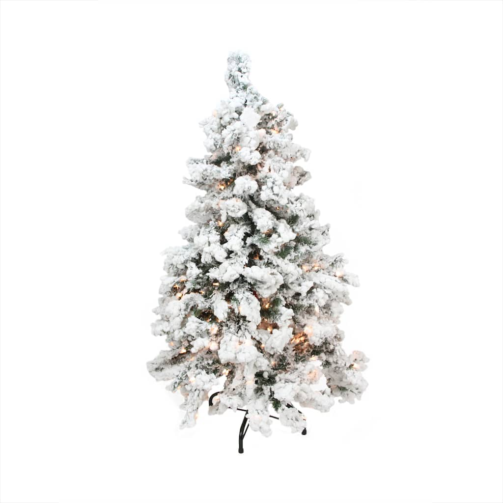 6.5 Ft. Pre-Lit Heavily Flocked Pine Medium Artificial Christmas ...