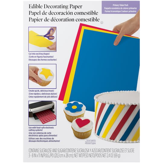 Wilton Sugar Sheets Edible Decorating Paper Value Pack Primary