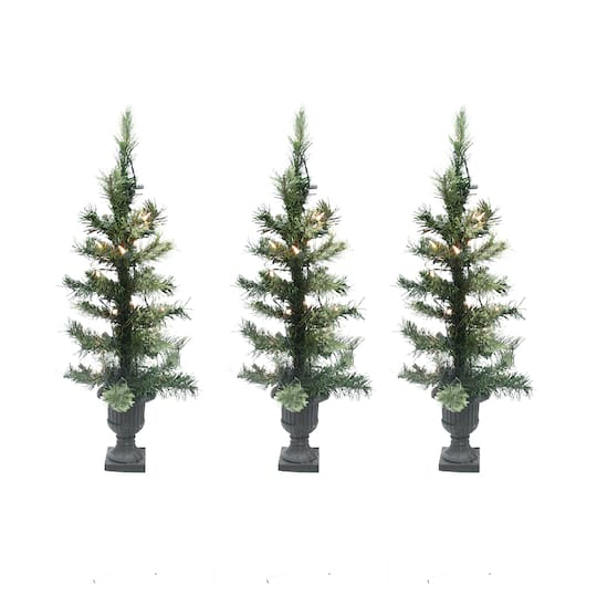 3 Pre Lit Christmas Tree.Set Of 3 Pre Lit 24 Cashmere Mix Potted Artificial Tabletop Christmas Trees Clear Lights