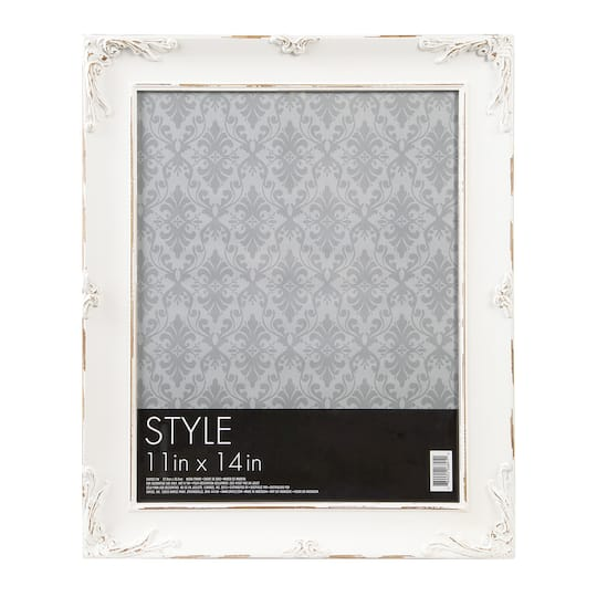 Ornate Picture Frame Wood Distressed White 11 X 14