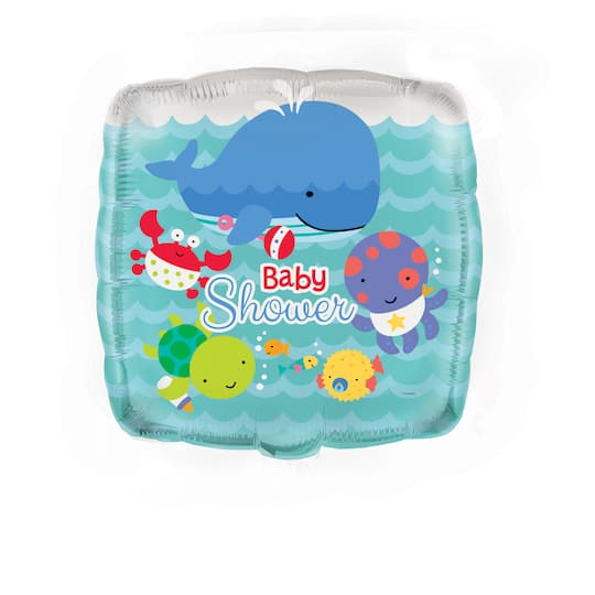 Square Foil Under The Sea Baby Shower Balloon Baby Shower Decorations