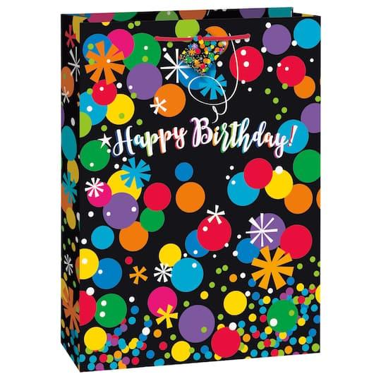 Jumbo Black Bright Stars And Dots Happy Birthday Gift Bag