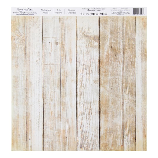 Whitewash Wood Scrapbook Paper By Recollections 174
