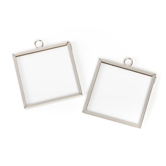 Frame Charms-Square-Silver-2 x 2 in