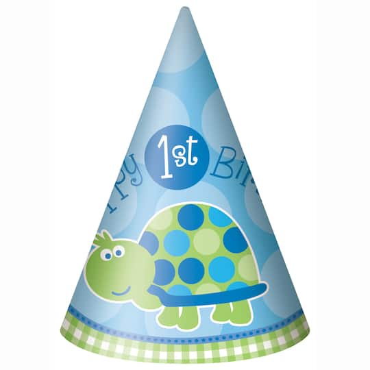 Turtle First Birthday Party Hats 8ct Img