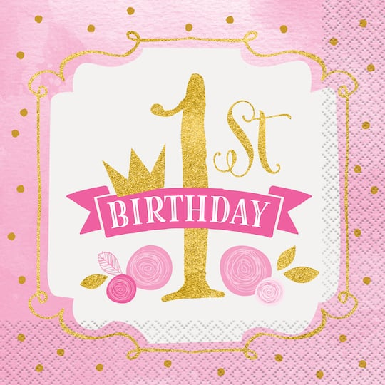 Pink And Gold 1st Birthday Paper Napkins
