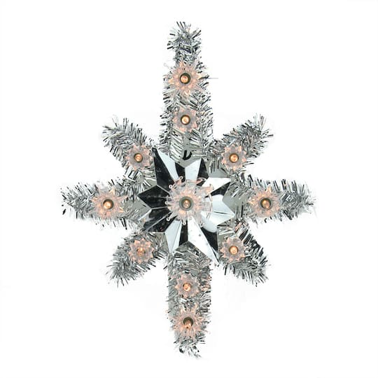 Peace Christmas Tree Topper.11 Lighted Silver Tinsel Star Of Bethlehem Christmas Tree Topper