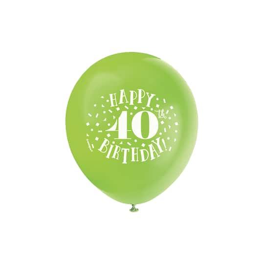 12 Latex Fun Happy 40th Birthday Balloons Assorted 8ct