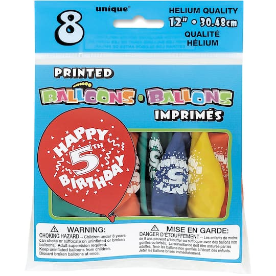 12 Latex Happy 5th Birthday Balloons Assorted 8ct