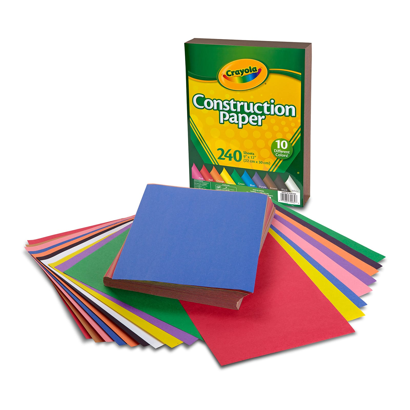Kids N/' Krafts 18 Sheet Assorted Construction Paper Pad 18 x 12