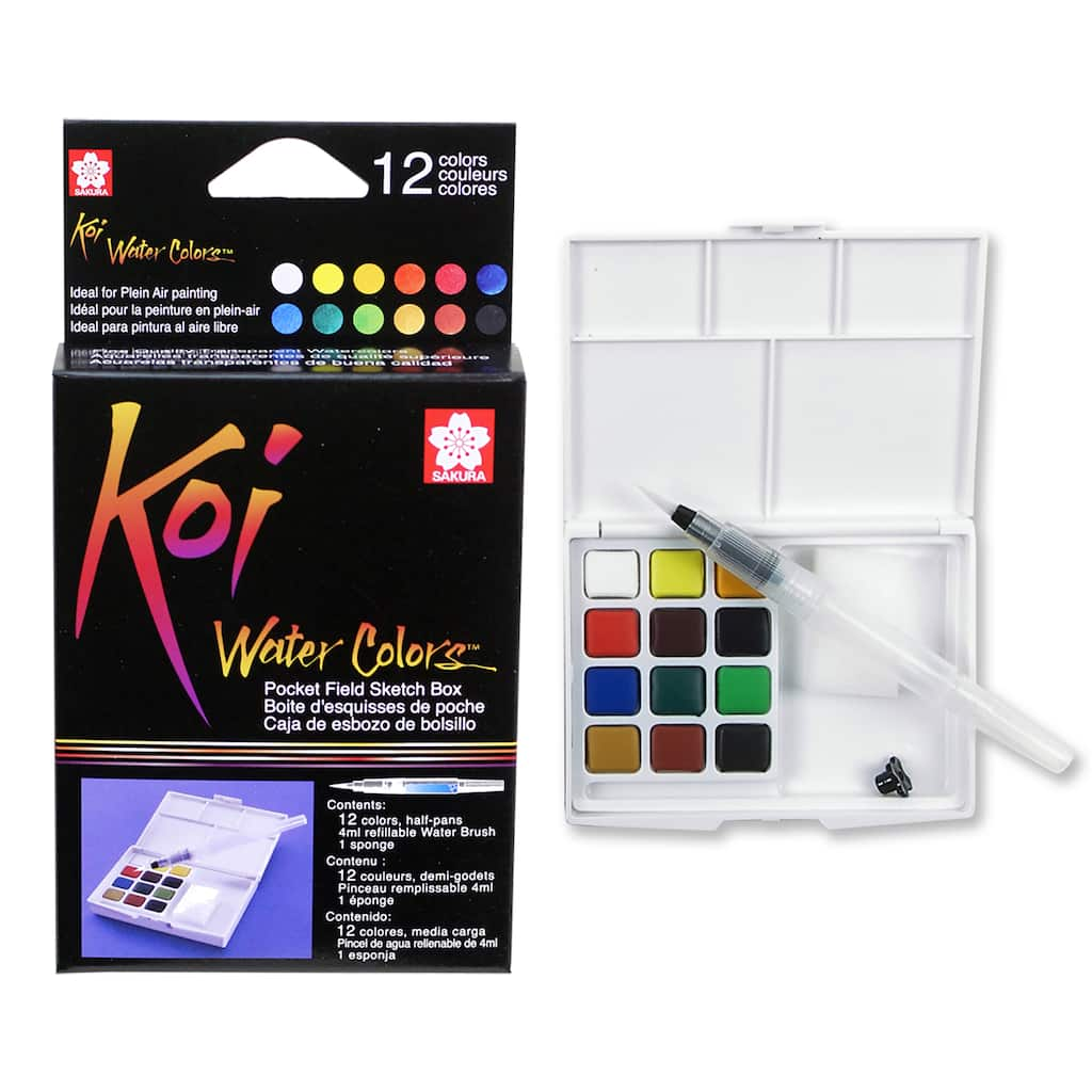 The Little Shop Peinture koi® water colors™ pocket field sketch box, 12 colors