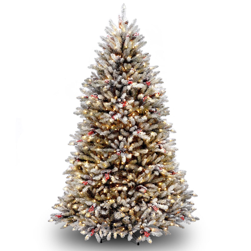 6 5 Ft Pre Lit Flocked Dunhill Fir Full Artificial Christmas Tree Clear Lights