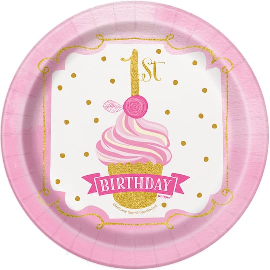 Pink And Gold 1st Birthday Cake Plates