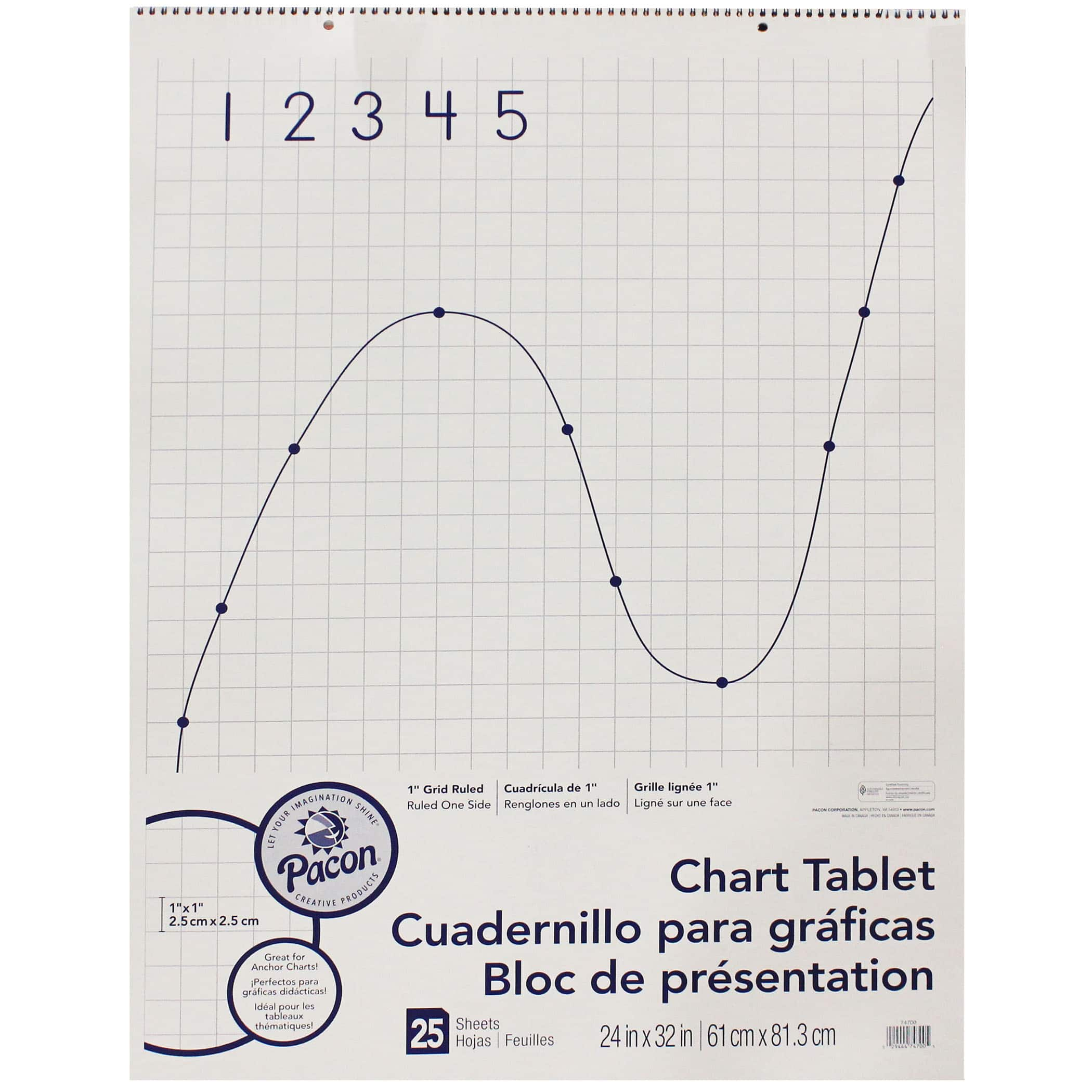 Pacon® Grid Rule Chart Tablet, 24