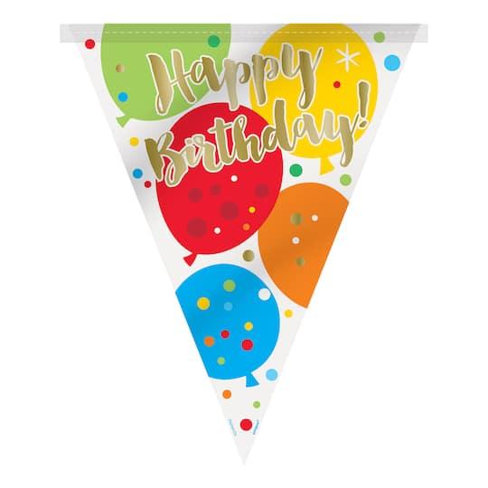 glitzy balloon happy birthday flag banner birthday party decorations