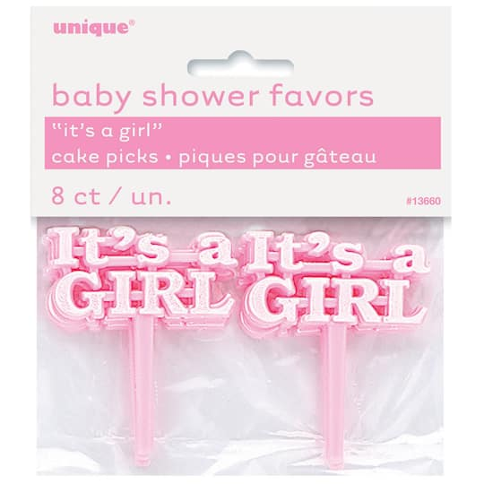 Plastic Pink It S A Girl Baby Shower Cupcake Toppers Girl Baby Shower Decorations