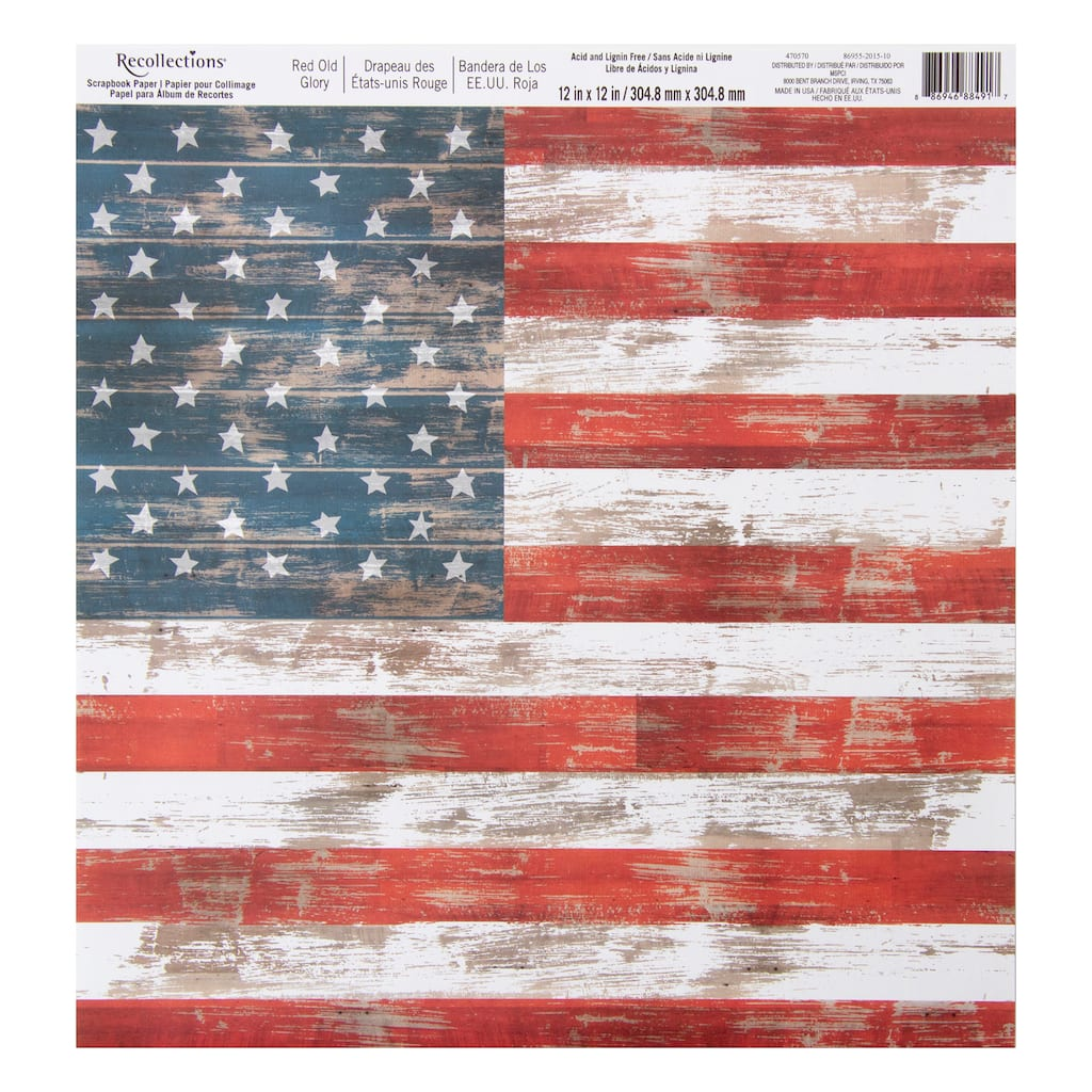 Red Old Glory Scrapbook Paper By Recollections