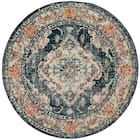 Monaco border medallion 3 x 3 round area rug