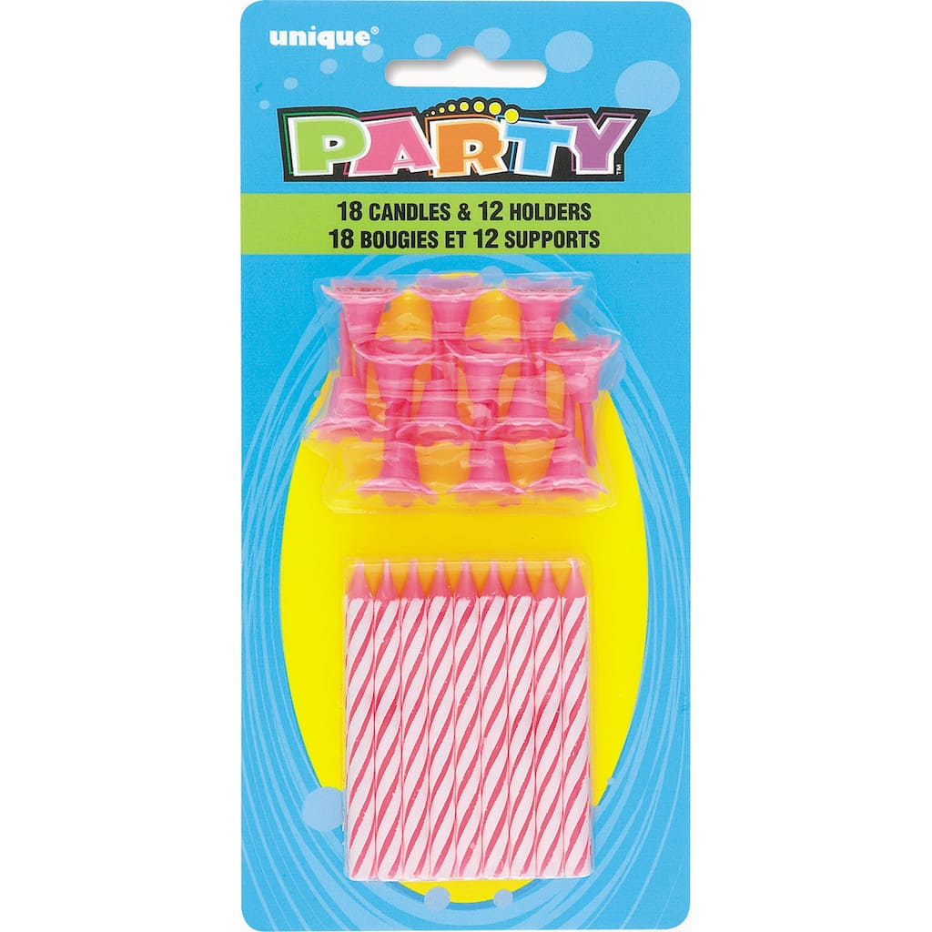 Striped Pink Birthday Candles With Holders 30pc Img